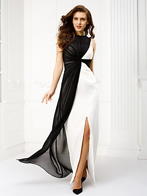 cheap Evening Dresses-Sheath / Column Empire Black Wedding Guest Prom Dress Jewel Neck Sleeveless Floor Length Georgette with Ruched 2020
