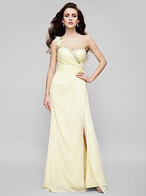 cheap Prom Dresses-Sheath / Column Floral Yellow Wedding Guest Prom Dress One Shoulder Sleeveless Floor Length Chiffon with Crystals Split Appliques 2020
