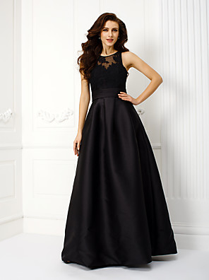 cheap Cocktail Dresses-A-Line Prom Formal Evening Dress Jewel Neck Sleeveless Floor Length Satin with Sash / Ribbon Ruched Appliques 2020