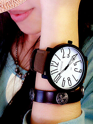 cheap Quartz Watches-Women's Wrist Watch Quartz Ladies Casual Watch Leather Black / Brown Analog - Black / White Black White / Brown One Year Battery Life / KC 377A