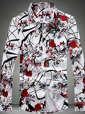 cheap Men's Shirts-Men's Plus Size Flower / Floral Print Slim Shirt - Cotton Daily Weekend Classic Collar Red / Gray / Spring / Fall / Long Sleeve