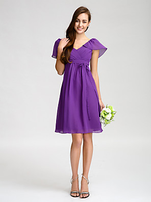cheap Bridesmaid Dresses-Sheath / Column V Neck Knee Length Chiffon Bridesmaid Dress with Sash / Ribbon / Bow(s) / Criss Cross
