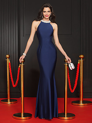 cheap Bridesmaid Dresses-Mermaid / Trumpet Minimalist Blue Party Wear Formal Evening Dress Halter Neck Sleeveless Floor Length Jersey with Crystals 2020