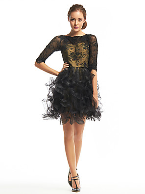 cheap Prom Dresses-Back To School A-Line Homecoming Prom Dress Bateau Neck Half Sleeve Short / Mini Lace Tulle with Lace 2020 Hoco Dress