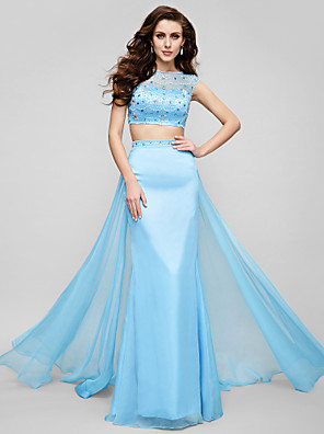 cheap Evening Dresses-Two Piece A-Line Beautiful Back Two Piece Prom Formal Evening Dress Illusion Neck Short Sleeve Sweep / Brush Train Chiffon with Crystals Beading 2020