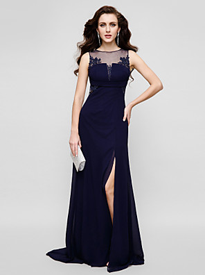cheap Special Occasion Dresses-Sheath / Column Beautiful Back Keyhole Prom Formal Evening Dress Illusion Neck Sleeveless Floor Length Chiffon Tulle with Beading Appliques 2020