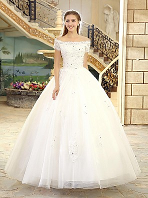 cheap Wedding Dresses-Ball Gown Wedding Dresses Off Shoulder Floor Length Lace Over Tulle Short Sleeve Casual Vintage Plus Size with Beading Appliques 2020