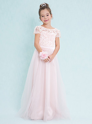 cheap Junior Bridesmaid Dresses-A-Line Scoop Neck Floor Length Lace / Tulle Junior Bridesmaid Dress with Lace / Natural