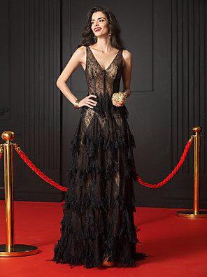 cheap Special Occasion Dresses-A-Line Elegant Formal Evening Black Tie Gala Dress V Neck Sleeveless Court Train Sheer Lace with Cascading Ruffles 2020