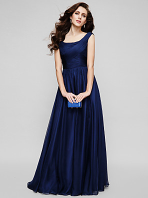 cheap Bridesmaid Dresses-A-Line Elegant Minimalist Holiday Formal Evening Dress Scoop Neck Sleeveless Floor Length Chiffon with Ruched 2020