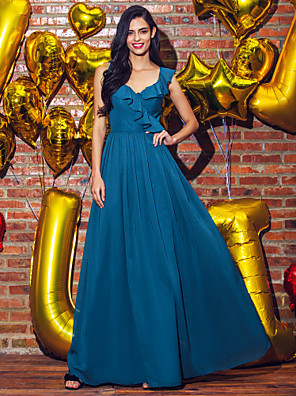 cheap Special Occasion Dresses-A-Line Elegant Prom Formal Evening Dress V Neck Sleeveless Ankle Length Georgette with Pleats 2020