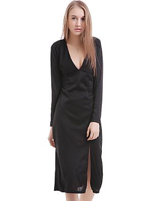 cheap Wedding Party Dresses-Women's Sheath Dress - Long Sleeve Solid Colored Split Spring Fall Deep V Party White Black Blue S M L XL