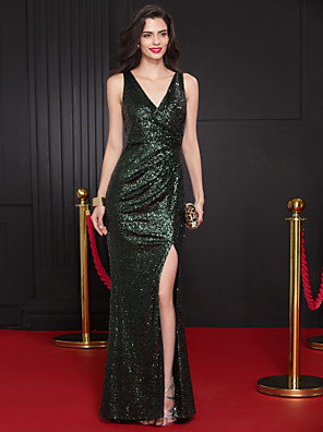 cheap Evening Dresses-Sheath / Column Elegant Minimalist Sparkle & Shine Prom Formal Evening Dress V Neck Sleeveless Sweep / Brush Train Sequined with Sequin Split Front 2020