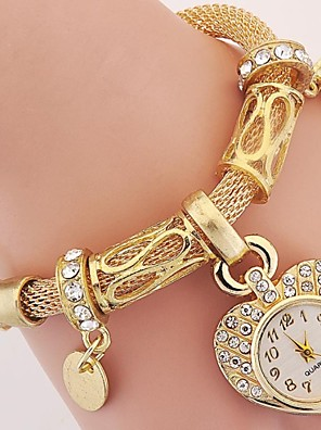 cheap Quartz Watches-Women's Ladies Luxury Watches Bracelet Watch Wrist Watch Vintage Style Charm Imitation Diamond Silver / Gold Analog - Gold Silver One Year Battery Life