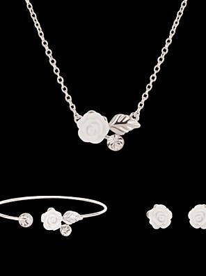 cheap Quartz Watches-Synthetic Diamond Jewelry Set Stud Earrings Pendant Necklace Flower Flower Ladies Party Fashion Rhinestone Imitation Diamond Earrings Jewelry White For Party Special Occasion Anniversary Birthday Gift