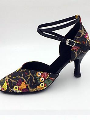 cheap Wedding Party Dresses-Women's Latin Shoes / Modern Shoes / Samba Shoes Leatherette Buckle Sandal / Heel Stiletto Heel Customizable Dance Shoes Black / Indoor / Performance / Practice / Professional