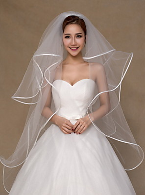 cheap Wedding Veils-Four-tier Ribbon Edge Wedding Veil Fingertip Veils with Ruched Tulle / Classic