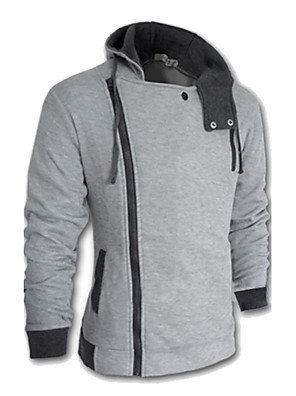 cheap Men's Jackets & Coats-Men's Plus Size Hoodie Jacket Solid Colored Long Sleeve Wine White Black Red Dark Gray Blue Light gray M L XL XXL XXXL XXXXL XXXXXL XXXXXXL