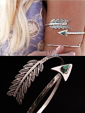 cheap Special Occasion Dresses-Armband Bracelet Ladies Unique Design Party Women's Body Jewelry For Party Daily Turquoise Gemstone & Crystal Malachite Turquoise Feather Peacock Silver 1pc