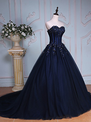 cheap Special Occasion Dresses-Ball Gown Elegant & Luxurious Lace Up Formal Evening Dress Sweetheart Neckline Sleeveless Chapel Train Tulle Over Lace with Beading Sequin 2020