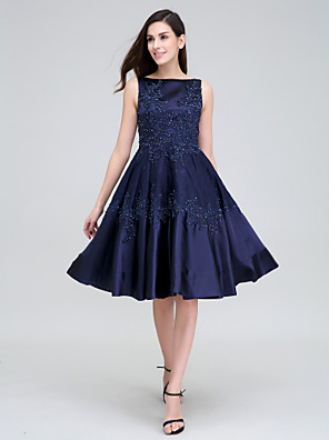 cheap Special Occasion Dresses-A-Line Fit & Flare Cocktail Party Prom Dress Bateau Neck Boat Neck Sleeveless Knee Length Lace Stretch Satin with Lace Beading Appliques 2020