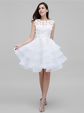 cheap Cocktail Dresses-Ball Gown Holiday Homecoming Cocktail Party Dress Illusion Neck Sleeveless Knee Length Tulle Floral Lace with Flower Flounced 2020 / Prom