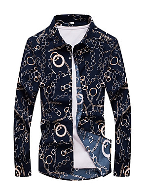 cheap Men's Shirts-Men's Geometric Print Slim Shirt Vintage Daily Weekend Classic Collar Navy Blue / Spring / Fall / Long Sleeve