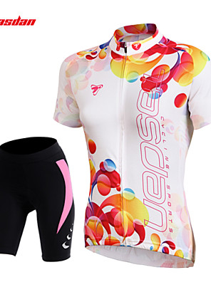 cheap Women's Cycling Jersey & Shorts / Pants Sets-TASDAN Women's Short Sleeve Cycling Jersey with Shorts White Floral Botanical Bike Shorts Jersey Padded Shorts / Chamois Breathable 3D Pad Quick Dry Reflective Strips Back Pocket Sports Floral