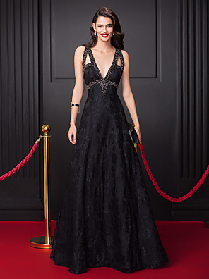 cheap Evening Dresses-A-Line Elegant Black Prom Formal Evening Dress V Neck Sleeveless Floor Length All Over Lace with Beading 2020