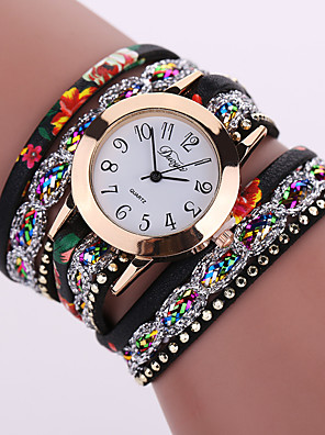cheap Quartz Watches-Women's Ladies Bracelet Watch Wrap Bracelet Watch Quartz Flower Casual Watch Analog White Black Red / Leather / One Year / One Year / Tianqiu 377