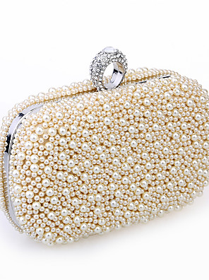 cheap Cocktail Dresses-Women's Bags Satin / Metal Evening Bag Imitation Pearl / Crystal / Rhinestone / Beading for Wedding / Event / Party / Formal White / Black / Champagne / Wedding Bags
