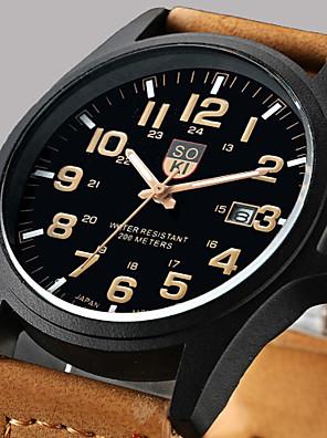 aa2140d31169 Men s Wrist Watch Quartz Leather Brown   Green   Khaki Calendar   date    day Analog