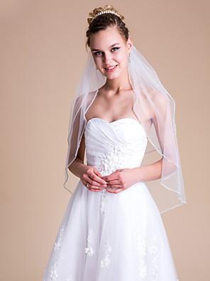 cheap Wedding Veils-Two-tier Wedding Veil Elbow Veils with Rhinestone 31.5 in (80cm) Tulle