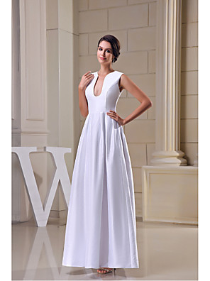 cheap Special Occasion Dresses-A-Line Formal Evening Dress V Neck Floor Length Satin with Draping 2020