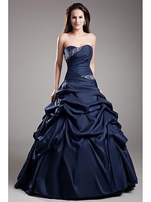 cheap Special Occasion Dresses-Ball Gown Elegant Blue Quinceanera Prom Dress Strapless Sleeveless Floor Length Taffeta with Crystals Tier 2020