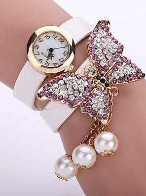 cheap Quartz Watches-Women's Ladies Bracelet Watch Diamond Watch Quartz Leather Black / White / Blue Casual Watch Analog Flower Fashion - Green Pink Light Blue