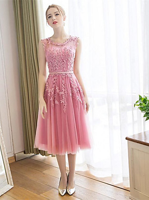 cheap Cocktail Dresses-A-Line Floral Pink Wedding Guest Cocktail Party Dress Jewel Neck Sleeveless Tea Length Lace Satin with Appliques 2020