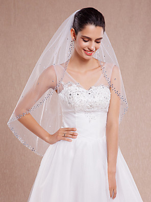 cheap Mother of the Bride Dresses-One-tier Cut Edge / Beaded Edge Wedding Veil Fingertip Veils with Rhinestone Tulle / Oval
