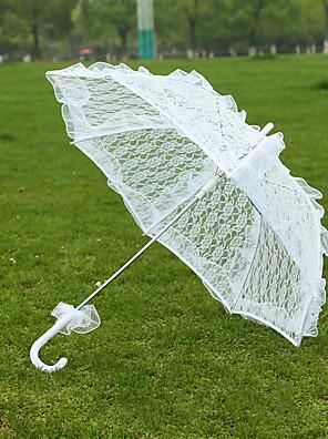 "cheap Wedding Slips-Post Handle Lace Wedding Umbrella Umbrellas 28.4""(Approx.72cm)"