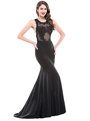 cheap Special Occasion Dresses-Mermaid / Trumpet Formal Evening Dress Jewel Neck Floor Length Lace Satin with Appliques 2020
