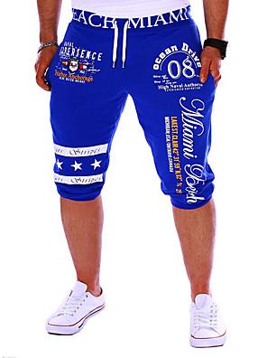 cheap Men's Pants & Shorts-Men's Active / Basic Sports Weekend Loose / wfh Sweatpants / Shorts Pants - Letter Print Black Gray Blue L XL XXL