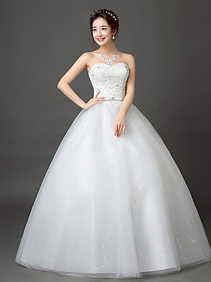 cheap Wedding Dresses-Ball Gown Wedding Dresses Sweetheart Neckline Floor Length Satin Tulle Beaded Lace Strapless Formal Romantic Sparkle & Shine Backless with Sash / Ribbon Beading 2020
