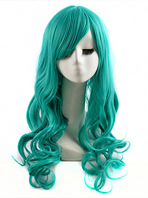 cheap Evening Dresses-Cosplay Costume Wig Synthetic Wig Wavy Wavy Wig Long Green Synthetic Hair Women's Green