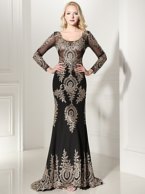cheap Evening Dresses-Sheath / Column Elegant Formal Evening Black Tie Gala Dress Scoop Neck Long Sleeve Sweep / Brush Train Jersey with Appliques 2020 / Illusion Sleeve