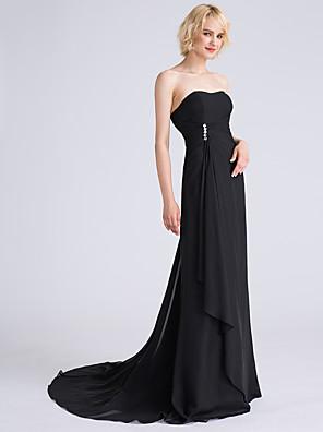 cheap Bridesmaid Dresses-A-Line Strapless Sweep / Brush Train Chiffon Bridesmaid Dress with Beading / Side Draping / Cascading Ruffles