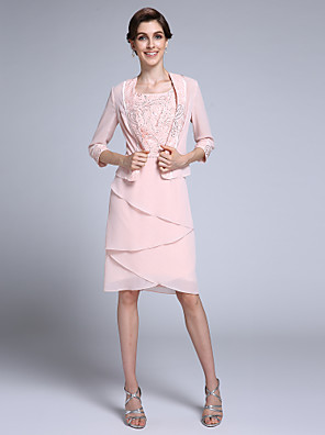 cheap Mother of the Bride Dresses-Sheath / Column Mother of the Bride Dress Convertible Dress Square Neck Knee Length Chiffon 3/4 Length Sleeve with Beading 2020