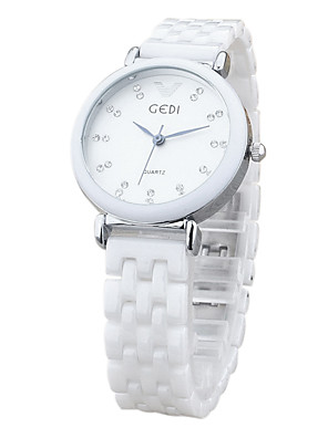 cheap Quartz Watches-Women's Wrist Watch Quartz Charm Casual Watch Analog White Gold / Ceramic