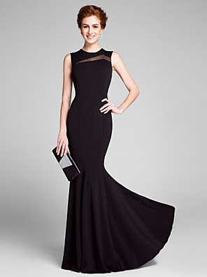 cheap Wedding Wraps-Mermaid / Trumpet Mother of the Bride Dress Jewel Neck Floor Length Jersey Sleeveless with Pleats 2020