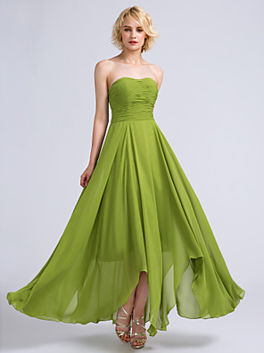 cheap Women's Dresses-A-Line Strapless Ankle Length Chiffon Bridesmaid Dress with Ruched / Open Back
