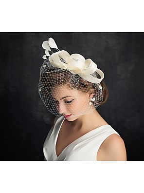 cheap Wedding Veils-Tulle / Feather Fascinators with 1 Special Occasion / Horse Race Headpiece